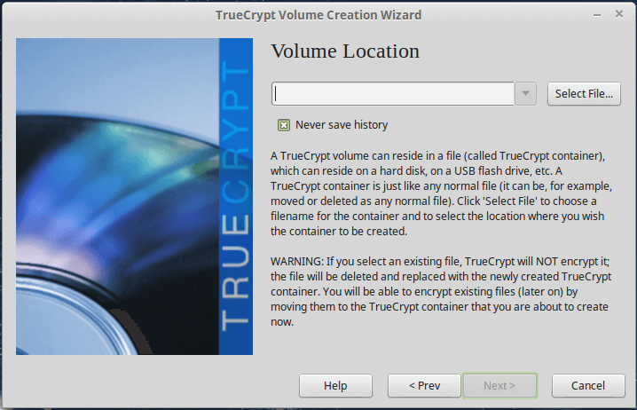 Enter TrueCrypt Volume Location