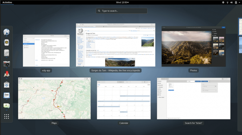 Gnome 3.20 Activities Overview