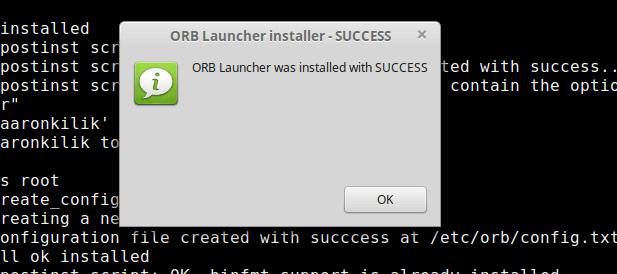 Successful ORB Launcher App Installation