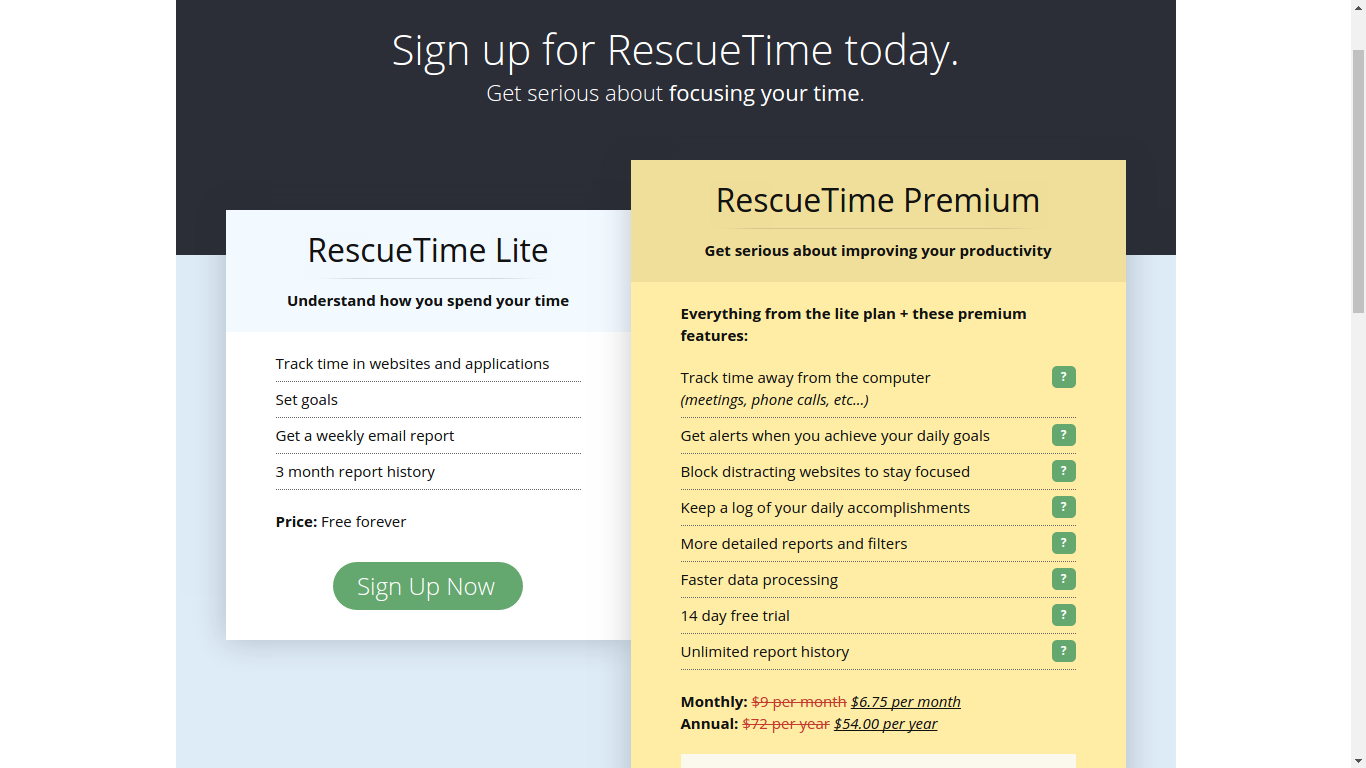 rescuetime free and paid comparison