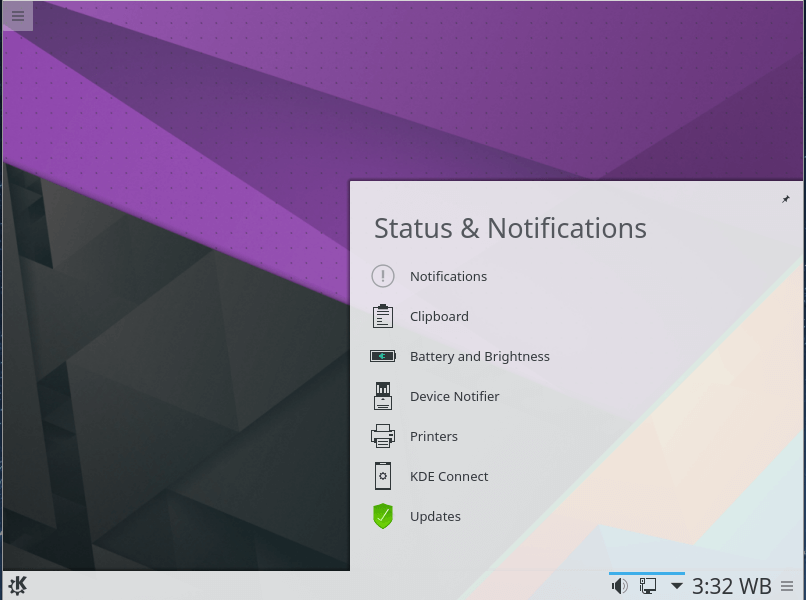 Status and Notification menu in the Panel