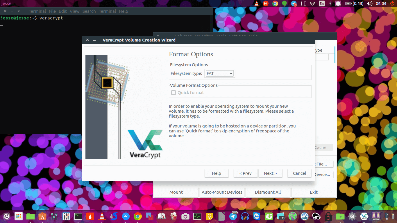 veracrypt filesystem options