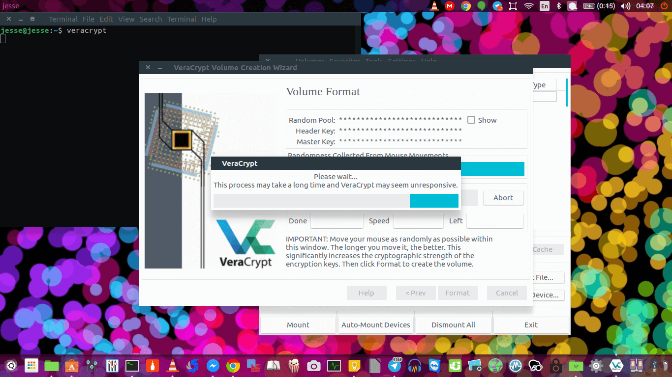 veracrypt formatting virtual drive