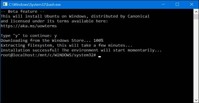 Download and Install Bash On Ubuntu On Windows