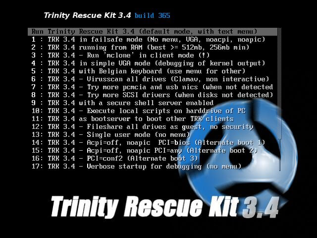 Trinity Rescue Recovery CD for Linux