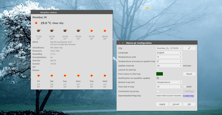 Meteo-Qt Weather App for Linux
