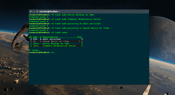 Taskwarrior - TODO List for Linux Terminal
