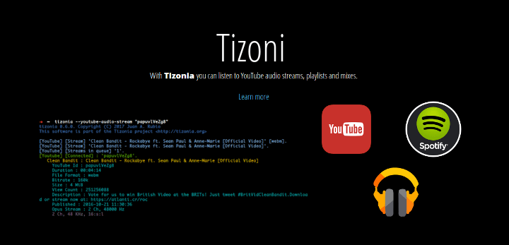 Tizona - Commandline Music Streaming Client for Linux