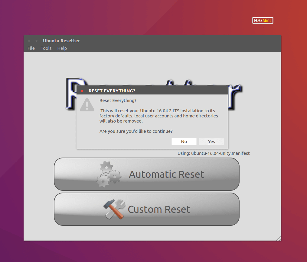 Automatic Reset Ubuntu to Default