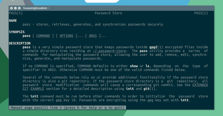 Pass - Linux Commandline Password Manager