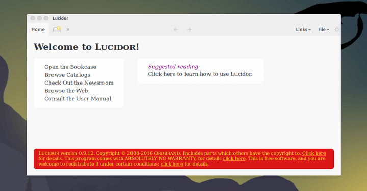 Lucidor Ebook Reader for Linux