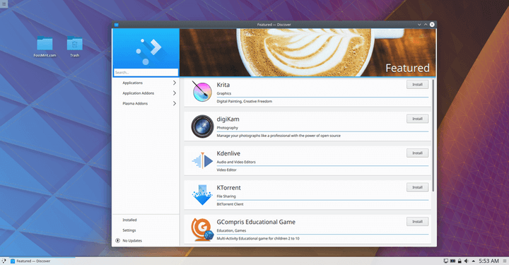 Discover Install Software on KDE Neon