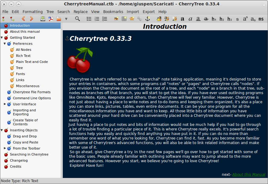 Cherrytree Wiki Note Taking App