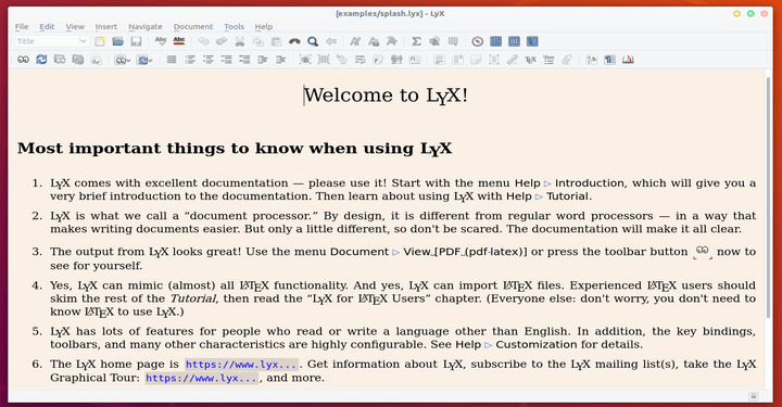 Lyx Linux Word Processor