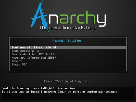 Anarchy Linux Boot Screen