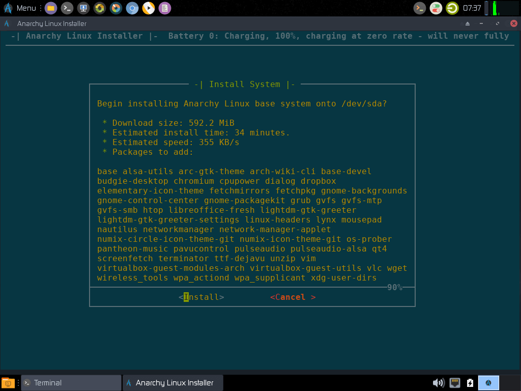 Anarchy Linux Installer SummaryAnarchy Linux Installer Summary