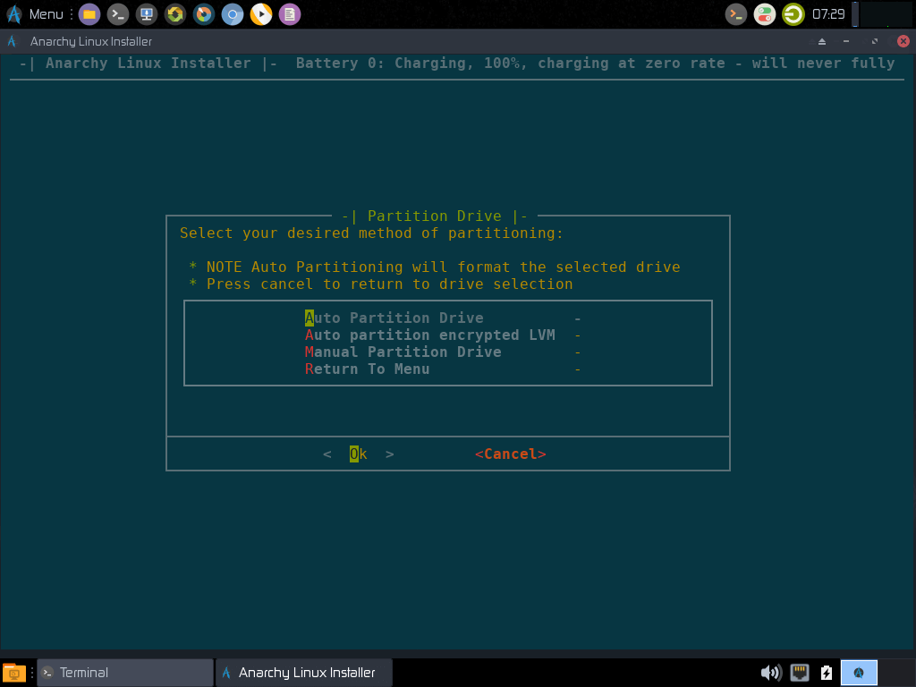 Anarchy Linux Partitioning