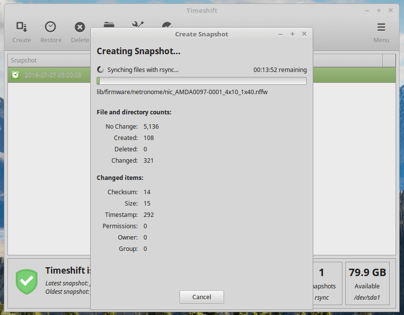 Timeshift Create Linux Mint Snapshot