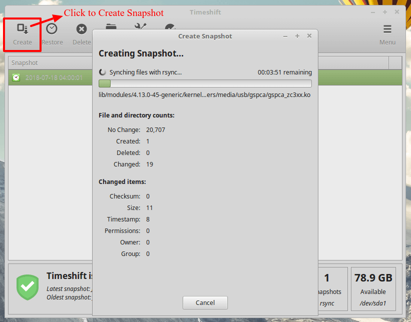 Timeshift Create Linux System Snapshot