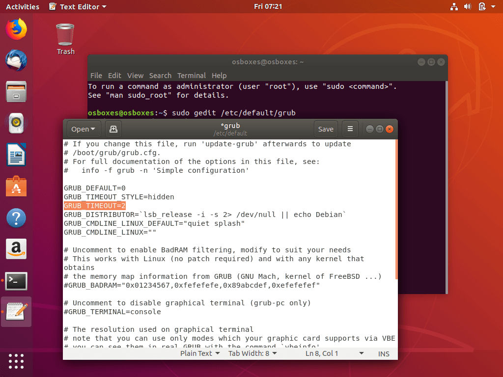 Reduce Ubuntu Grub Load Time