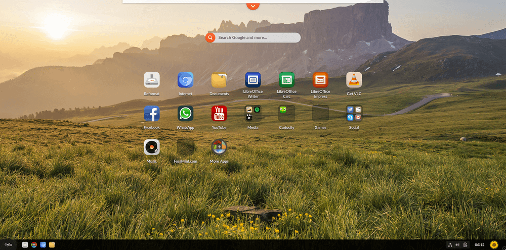 EndlessOS Desktop Icon Grid View