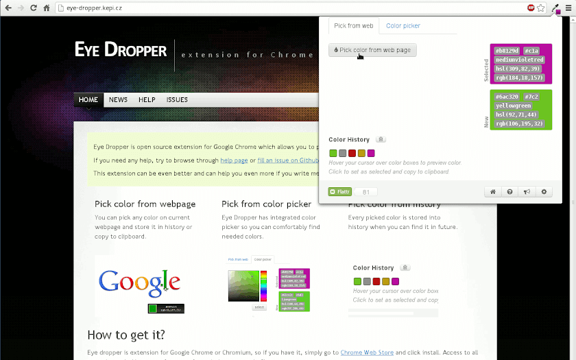Eye Dropper Chrome Extension