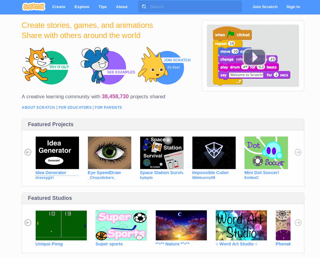 Scratch - Create Stories and Games