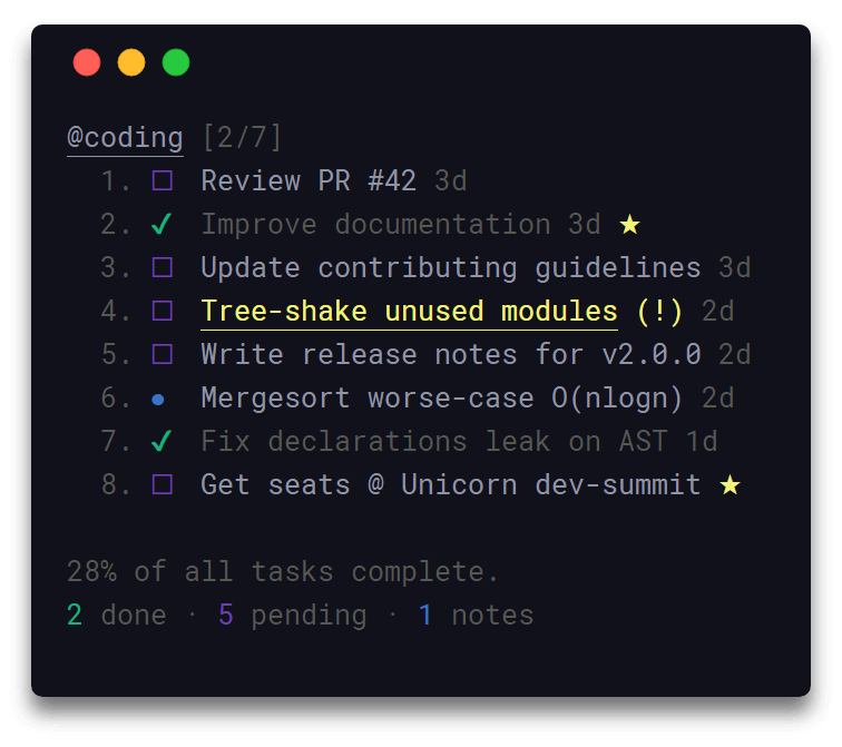 Taskbook - Commandline Note Taking Tool