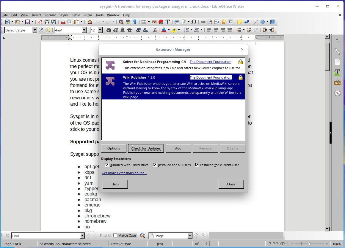 Add Extensions in LibreOffice