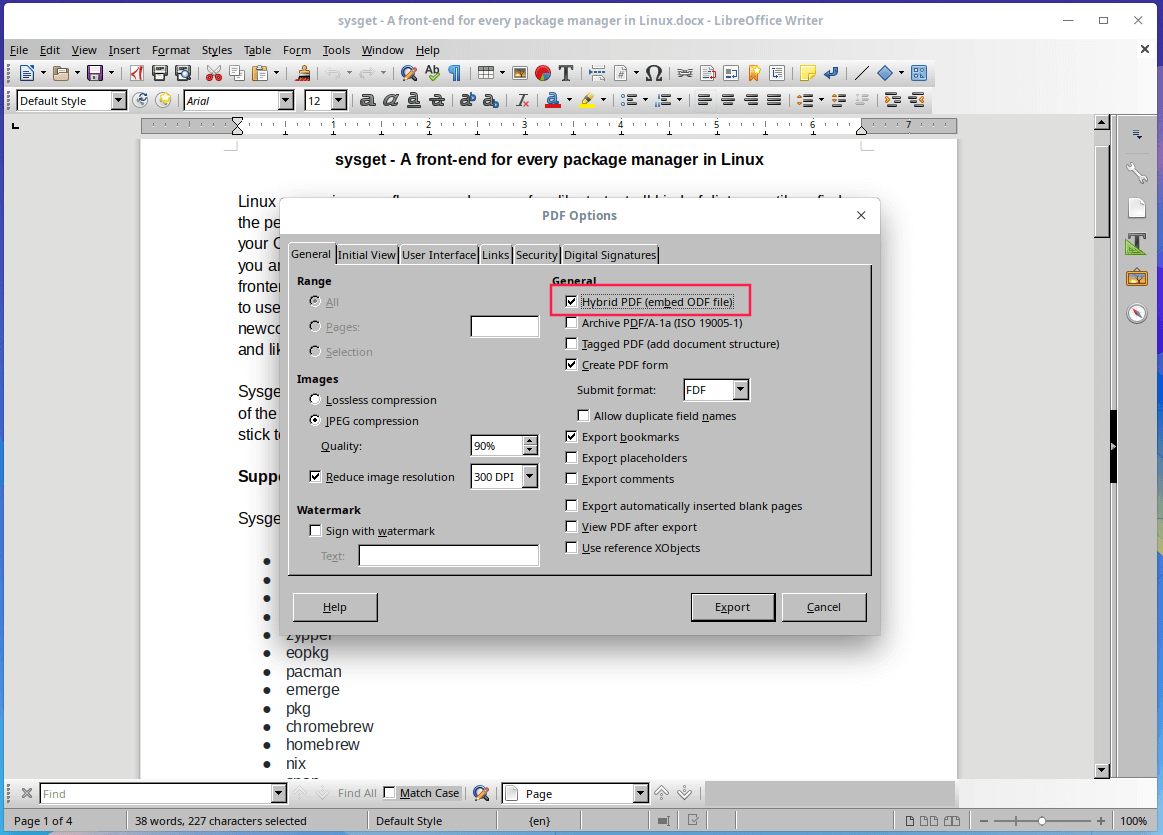 Enable Hybrid PDF in LibreOffice