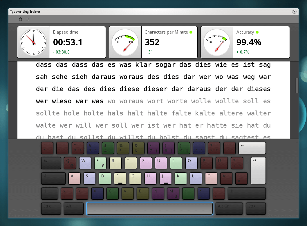Ktouch Typewriting Trainer