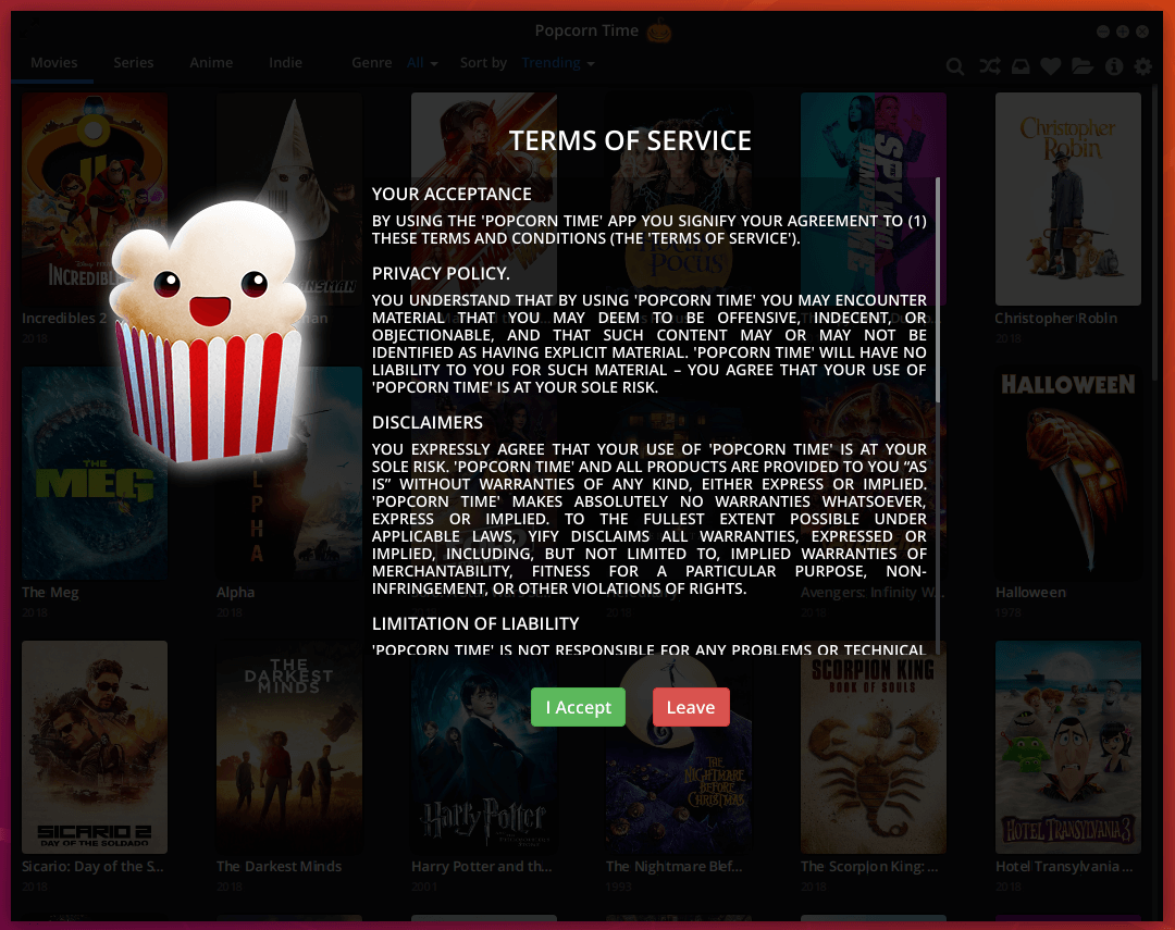Popcorn Time Terms of Service