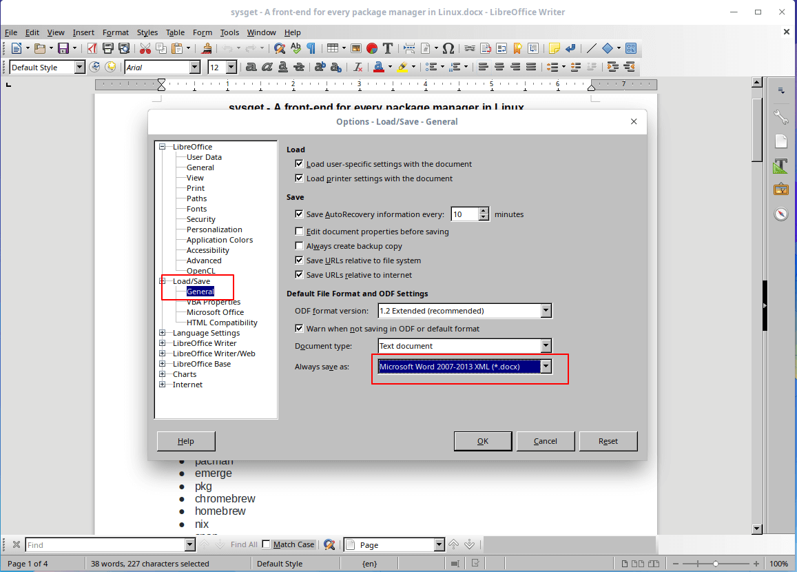 Save Default Docx Format in LibreOffice