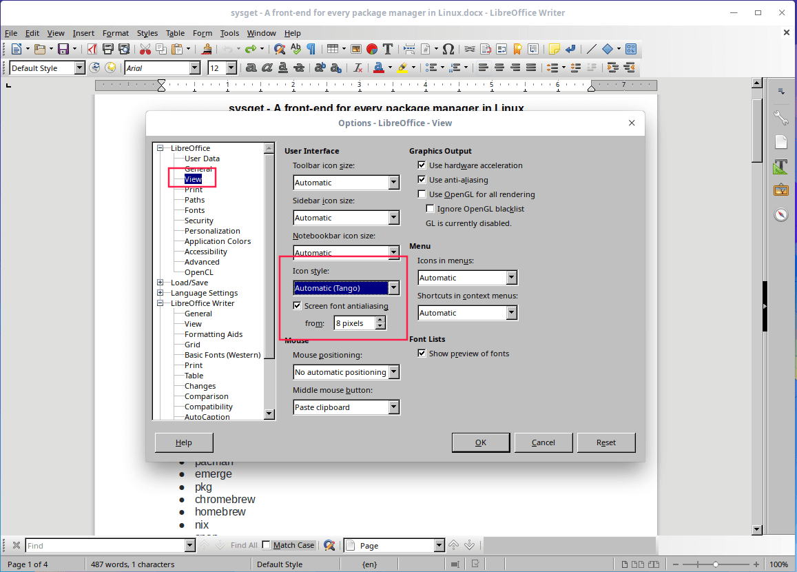 Set Icon Style in LibreOffice