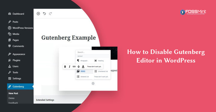 Disable Gutenberg Editor in WordPress