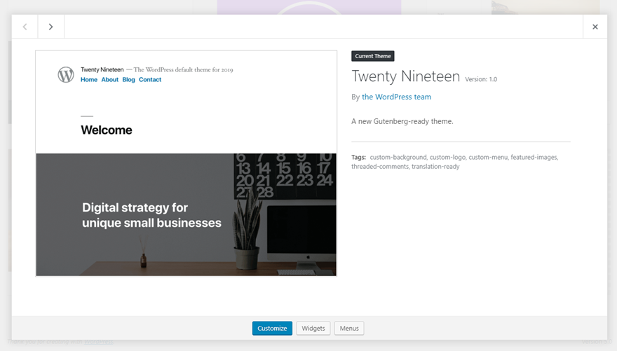 Twenty Nineteen New WordPress Theme