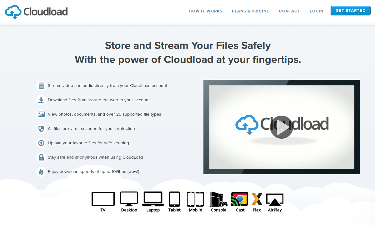 Cloudload - Store and stream your files safely from the cloud
