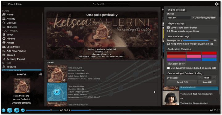 Olivia - An Elegant Music Player for Linux