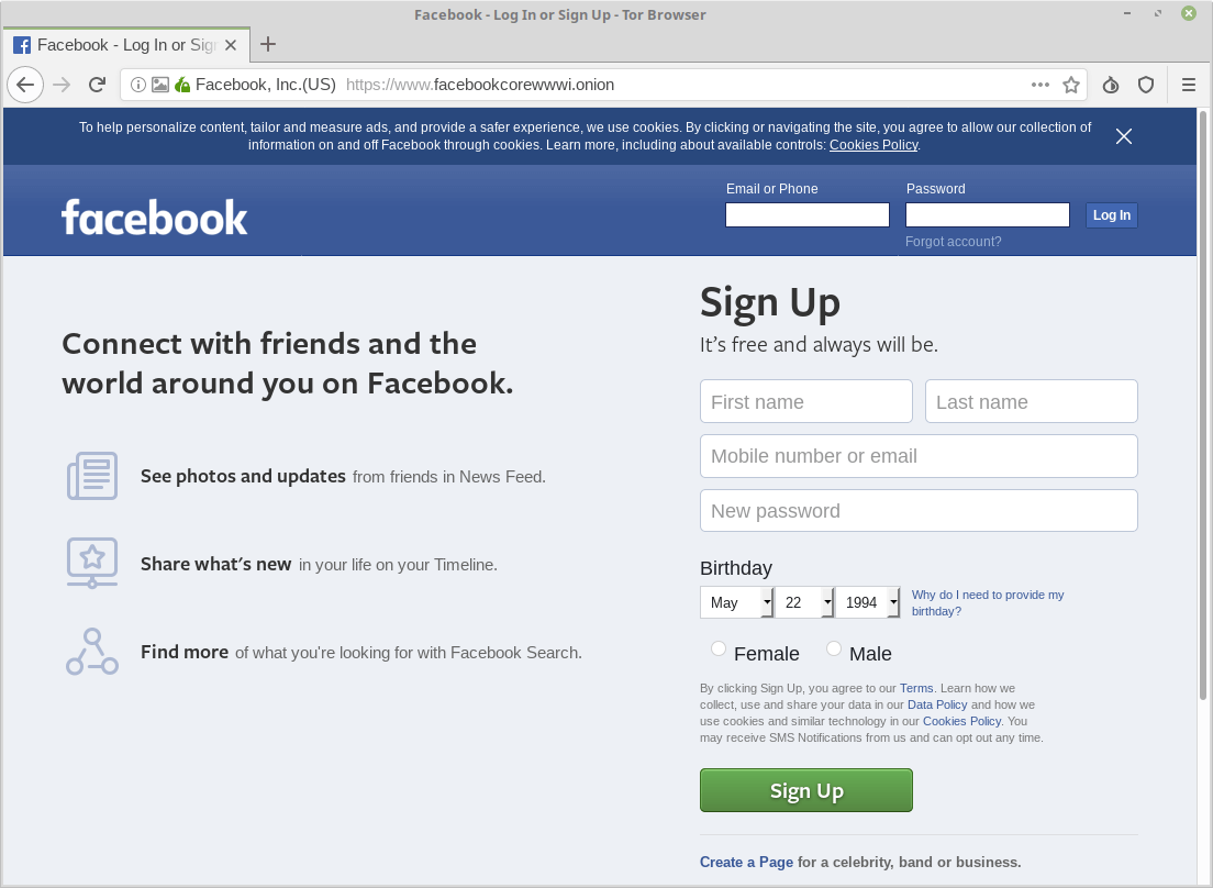Browse Facebook on Tor Browser