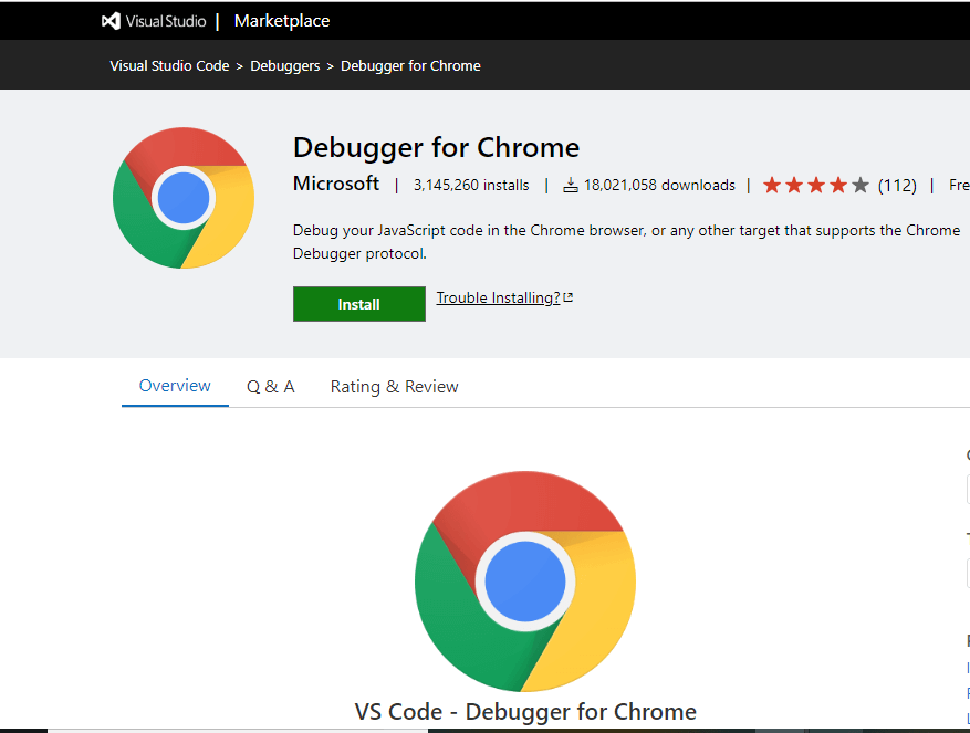 Debugger for Chrome VS Code Extension