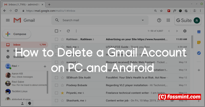 Delete a Gmail Account on PC and Android