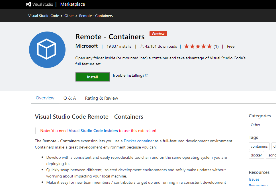 Remote - Containers VS Code Extension