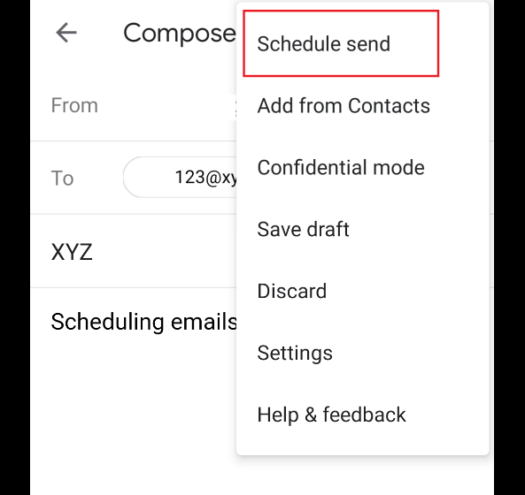 Schedule Email From SmartPhone
