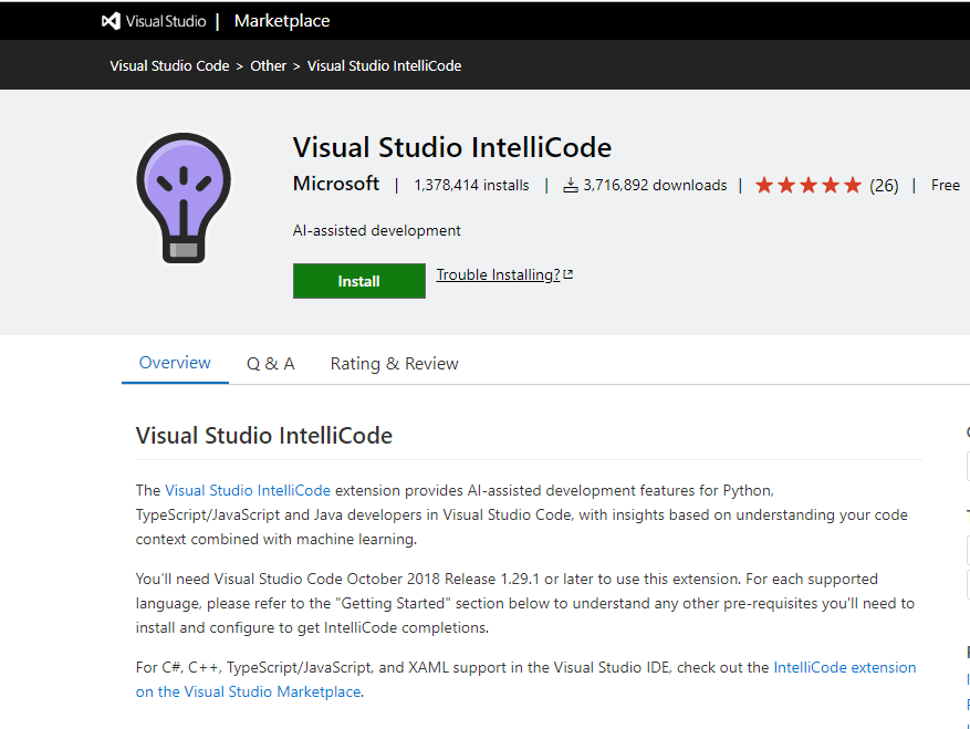 Visual Studio Intellicode Extension