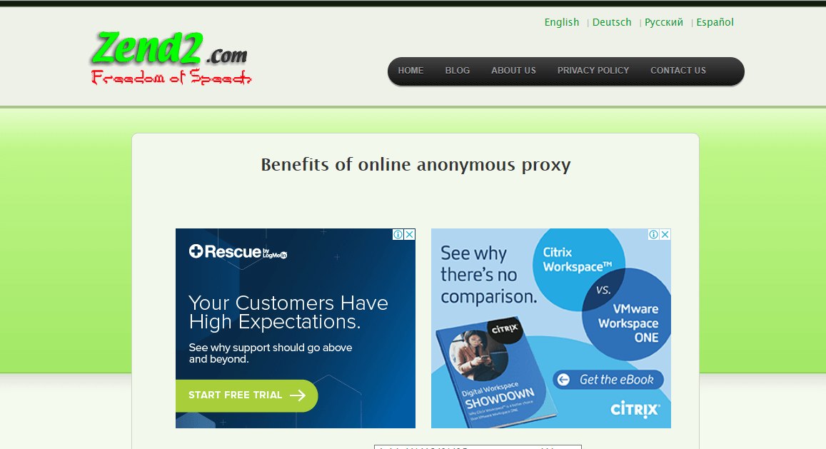 Zend2 - Online Anonymous Proxy