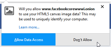 Tor don't allow HTML5 canvas