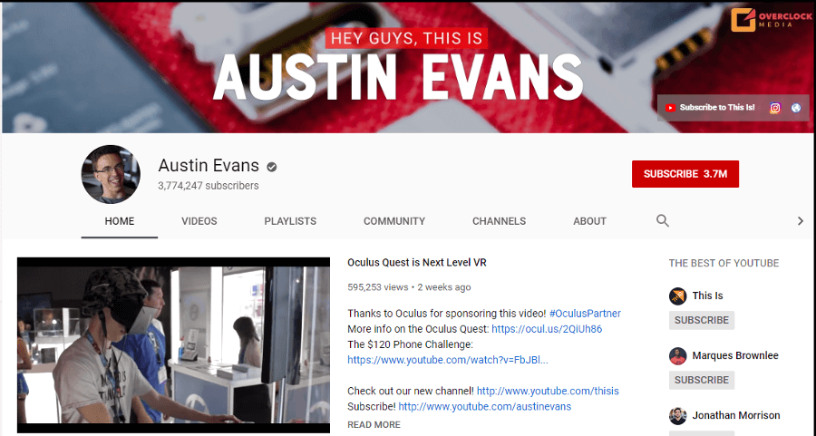 Austin Evans - YouTube Channel