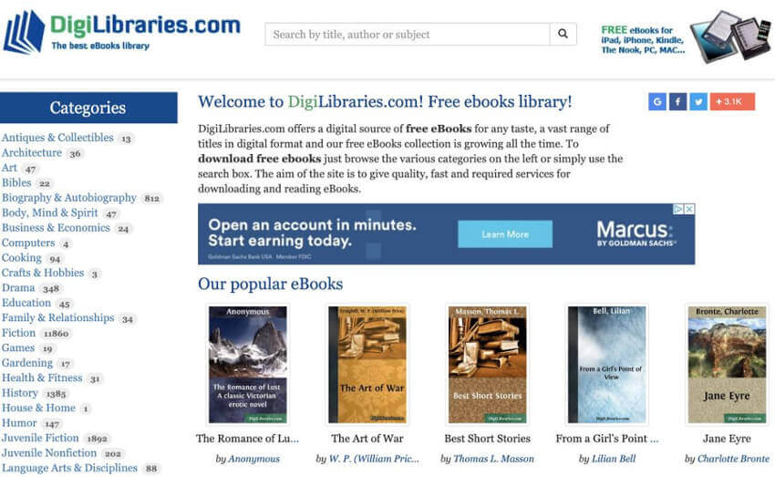 DigiLibraries Ebook Website