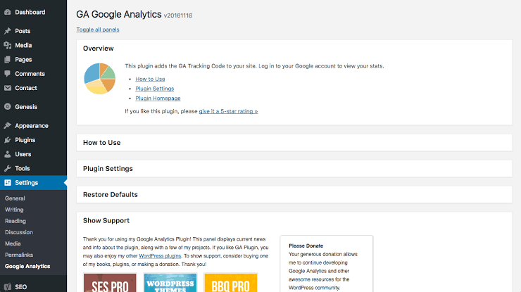 GA Google Analytics Plugin for WordPress