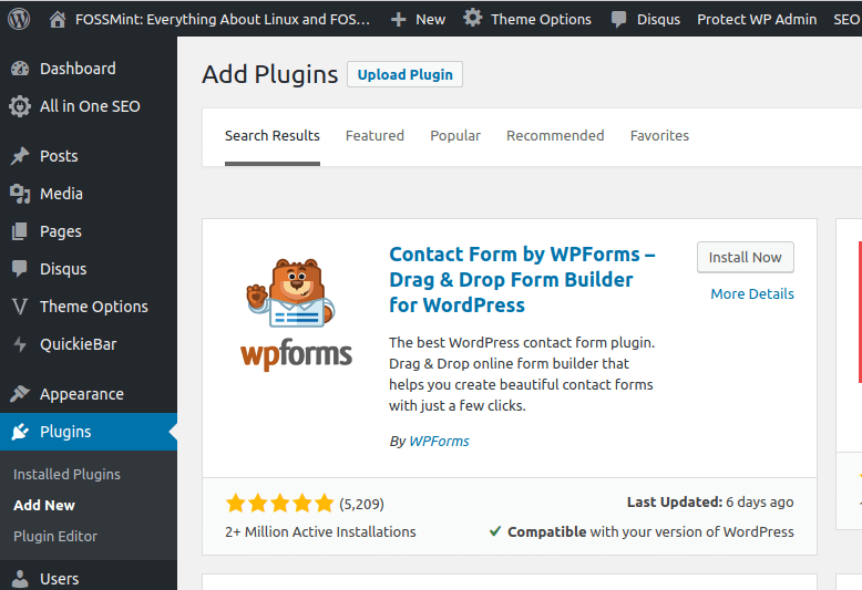 Install WP-Forms Plugin